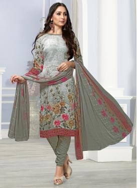 Crepe Silk Churidar Salwar Kameez