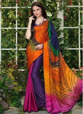 Crepe Silk Contemporary Style Saree For Festival