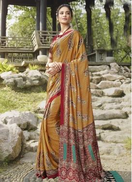 Crepe Silk Crimson and Gold Designer Contemporary Saree For Casual