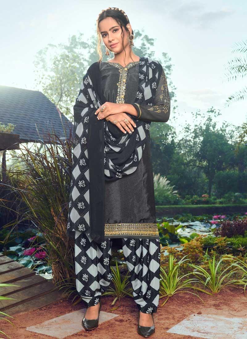 Crepe Silk Designer Semi Patiala Salwar Suit