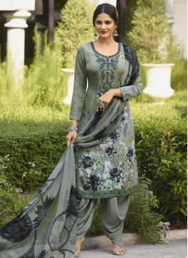 Crepe Silk Designer Semi Patiala Suit