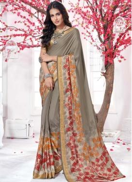 Crepe Silk Digital Print Work Beige and Grey Traditional Designer Saree