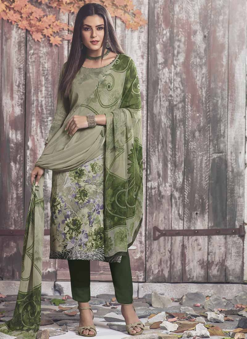 Crepe Silk Digital Print Work Pant Style Pakistani Salwar Kameez