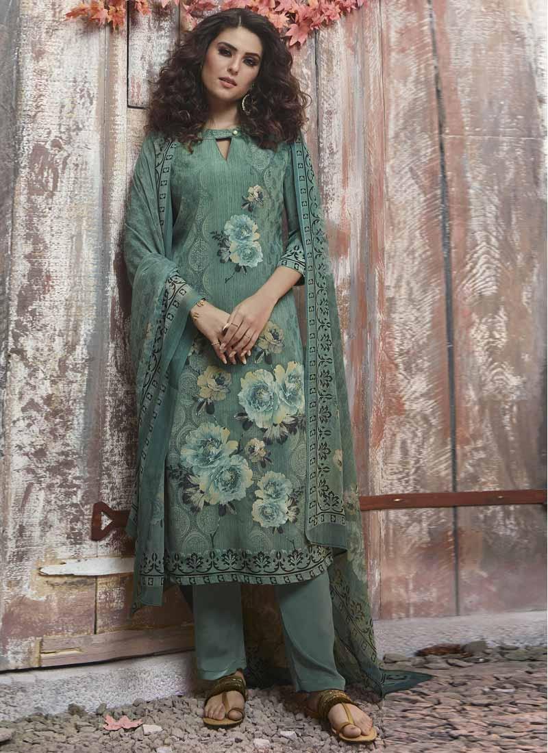 Crepe Silk Digital Print Work Pant Style Pakistani Salwar Suit