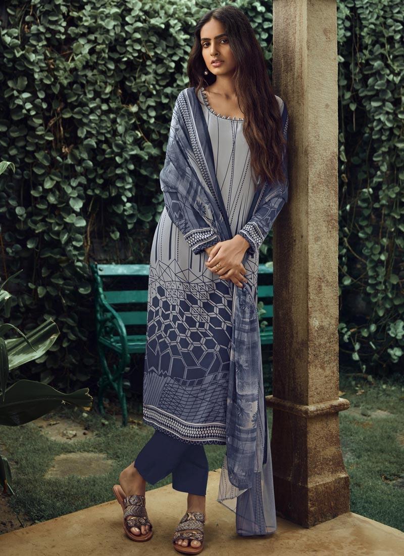 Crepe Silk Digital Print Work Pant Style Pakistani Suit