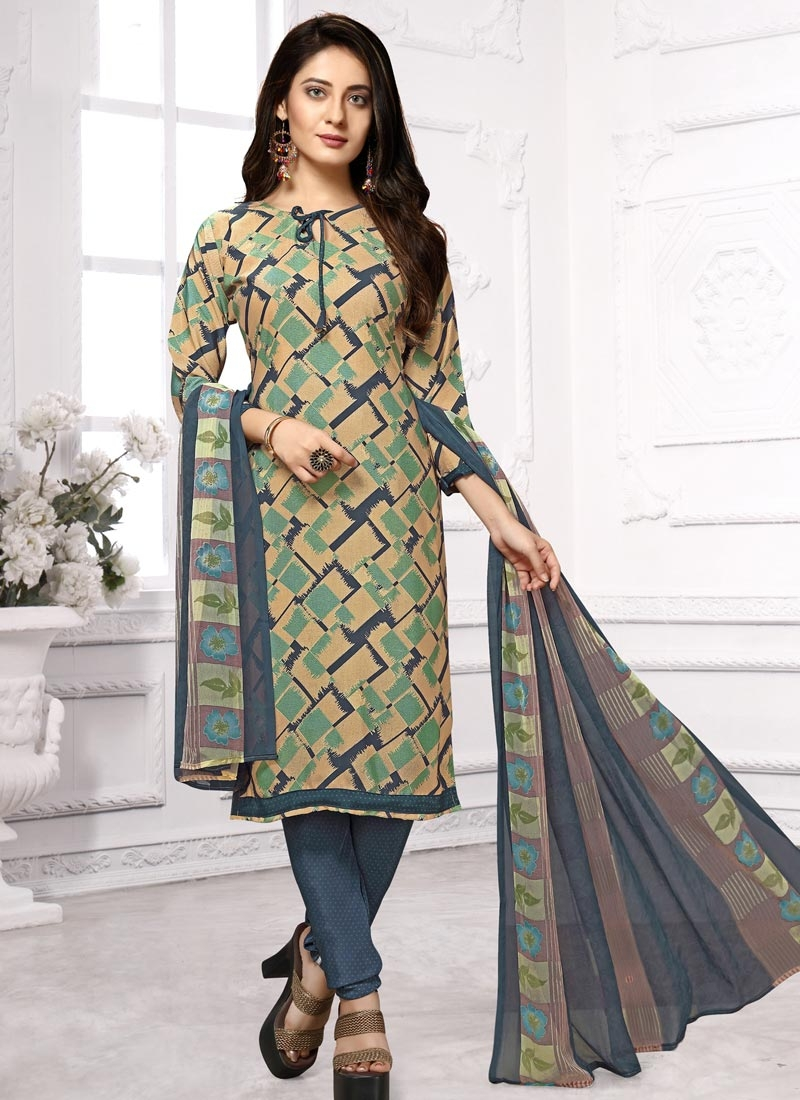 Crepe Silk Digital Print Work Trendy Churidar Salwar Kameez
