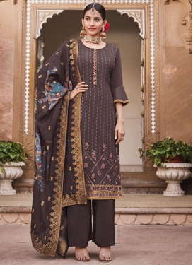 Crepe Silk Embroidered Work Palazzo Style Pakistani Salwar Kameez