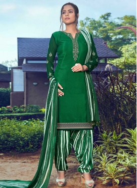 Crepe Silk Embroidered Work Trendy Patiala Salwar Kameez