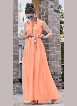 Crepe Silk Fancy Peach Readymade Gown