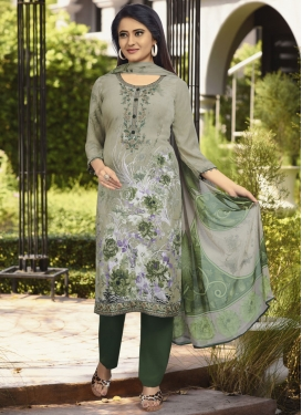 Crepe Silk Green and Sea Green Digital Print Work Pant Style Pakistani Salwar Kameez