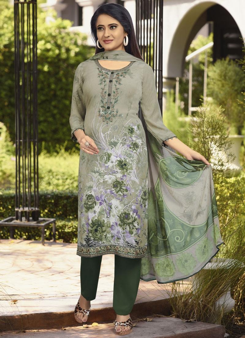 Crepe Silk Green and Sea Green Digital Print Work Pant Style Pakistani Salwar Kameez