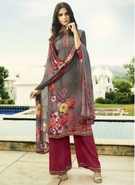 Crepe Silk Grey and Red Palazzo Style Pakistani Salwar Kameez