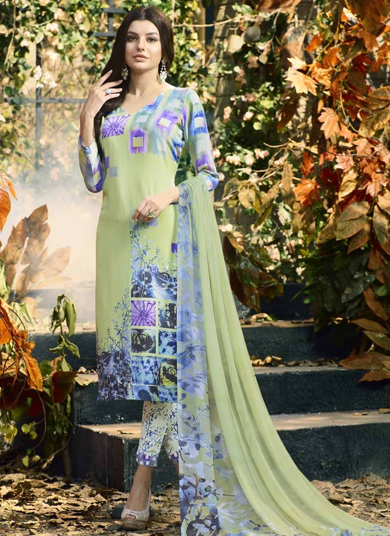 Crepe Silk Mint Green and Silver Color Digital Print Work Pant Style Pakistani Salwar Suit