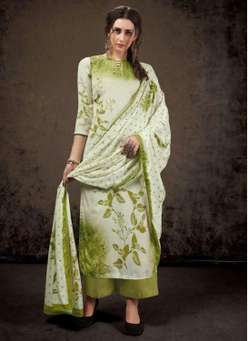Crepe Silk Off White and Olive Palazzo Style Pakistani Salwar Suit