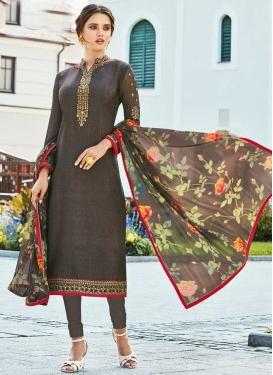 Crepe Silk Pakistani Straight Salwar Kameez