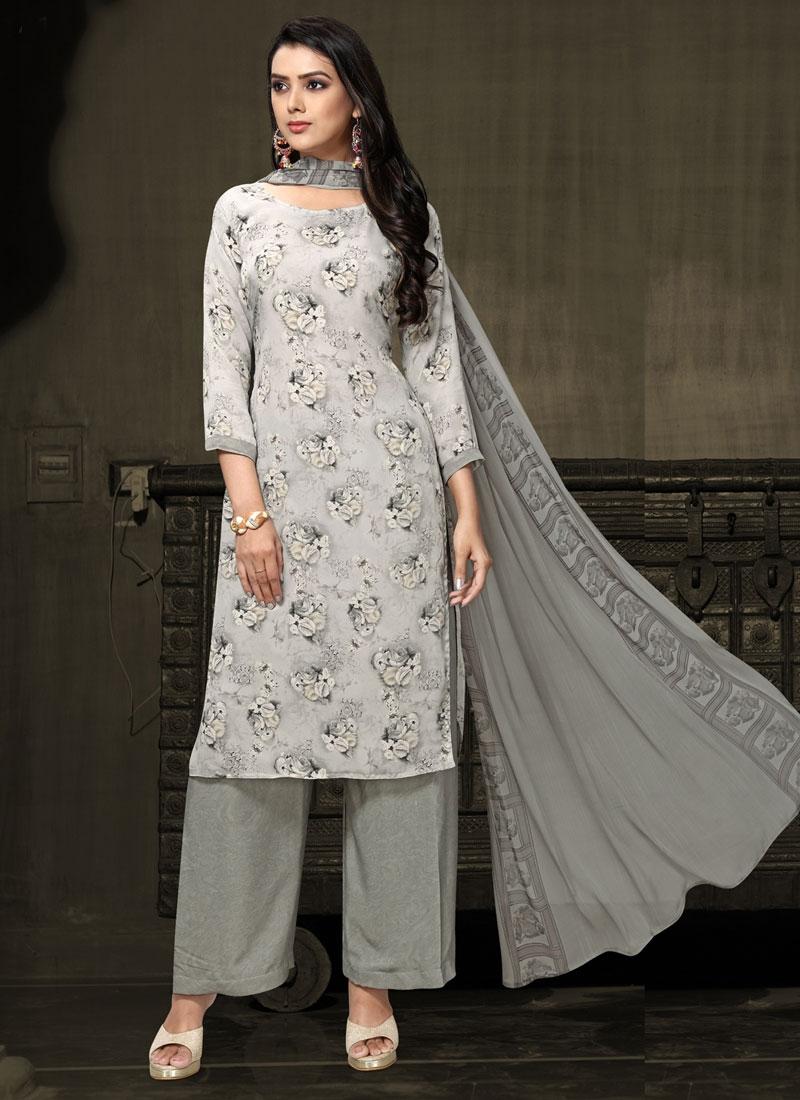 Crepe Silk Palazzo Straight Salwar Kameez For Casual