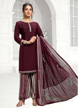 Crepe Silk Palazzo Straight Salwar Kameez For Casual