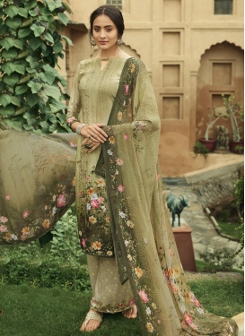 Crepe Silk Palazzo Style Pakistani Salwar Kameez For Ceremonial