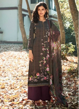 Crepe Silk Palazzo Style Pakistani Salwar Kameez For Ceremonial