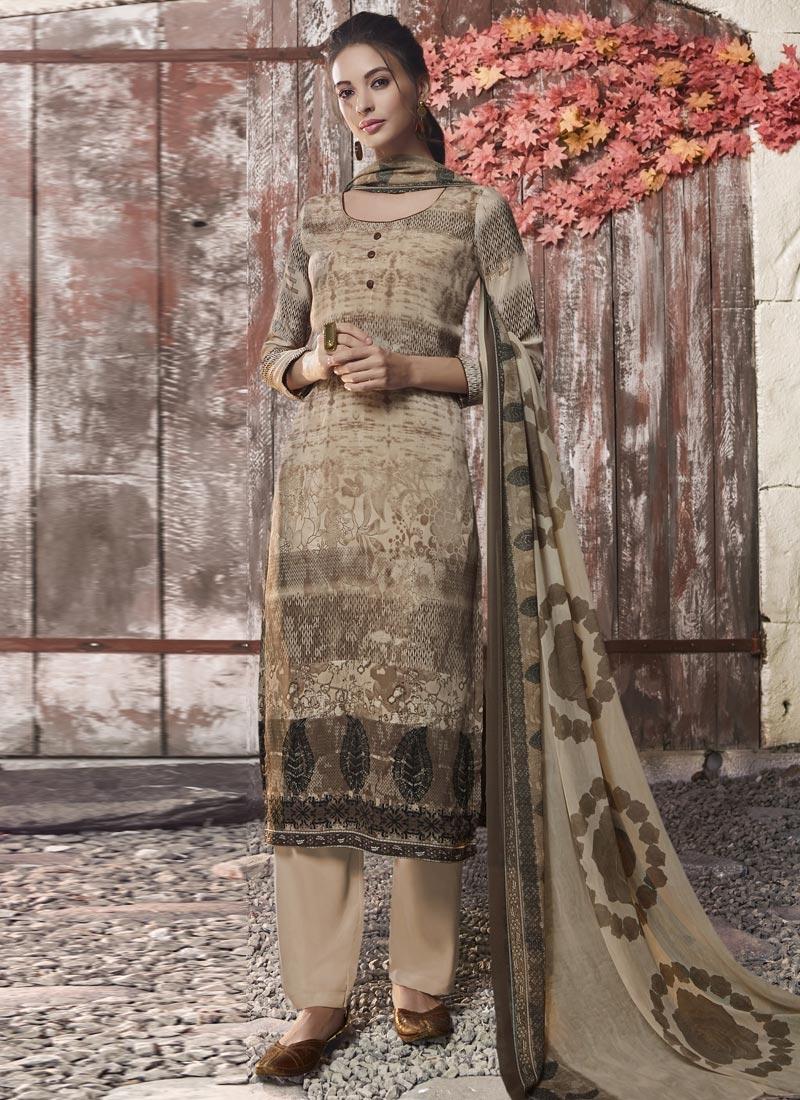 Crepe Silk Palazzo Style Pakistani Salwar Suit