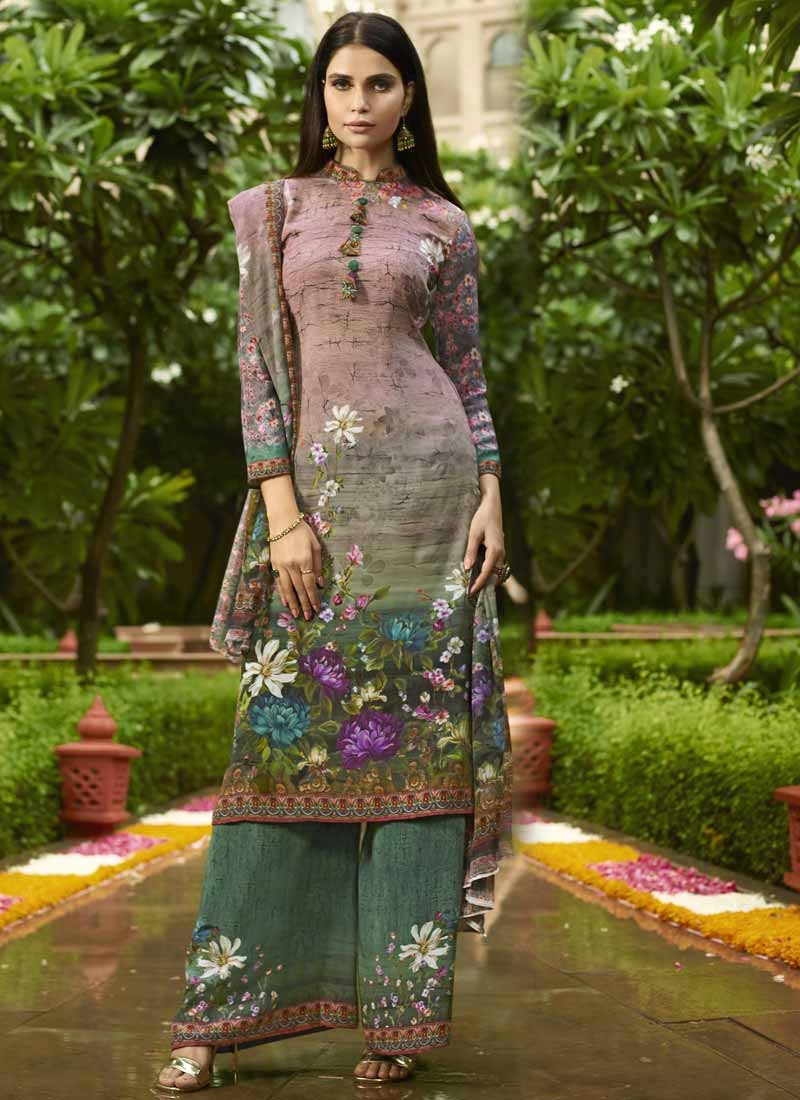 Crepe Silk Palazzo Style Pakistani Salwar Suit For Ceremonial
