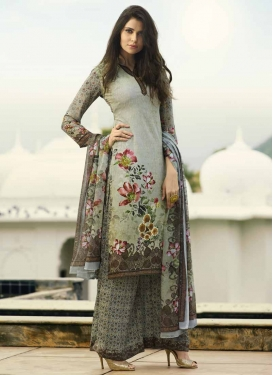 Crepe Silk Palazzo Style Pakistani Salwar Suit For Festival