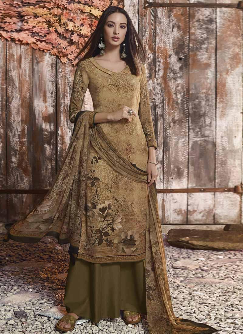 Crepe Silk Palazzo Style Pakistani Salwar Suit For Festival