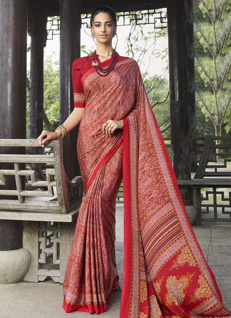 Crepe Silk Pink and Red Trendy Classic Saree