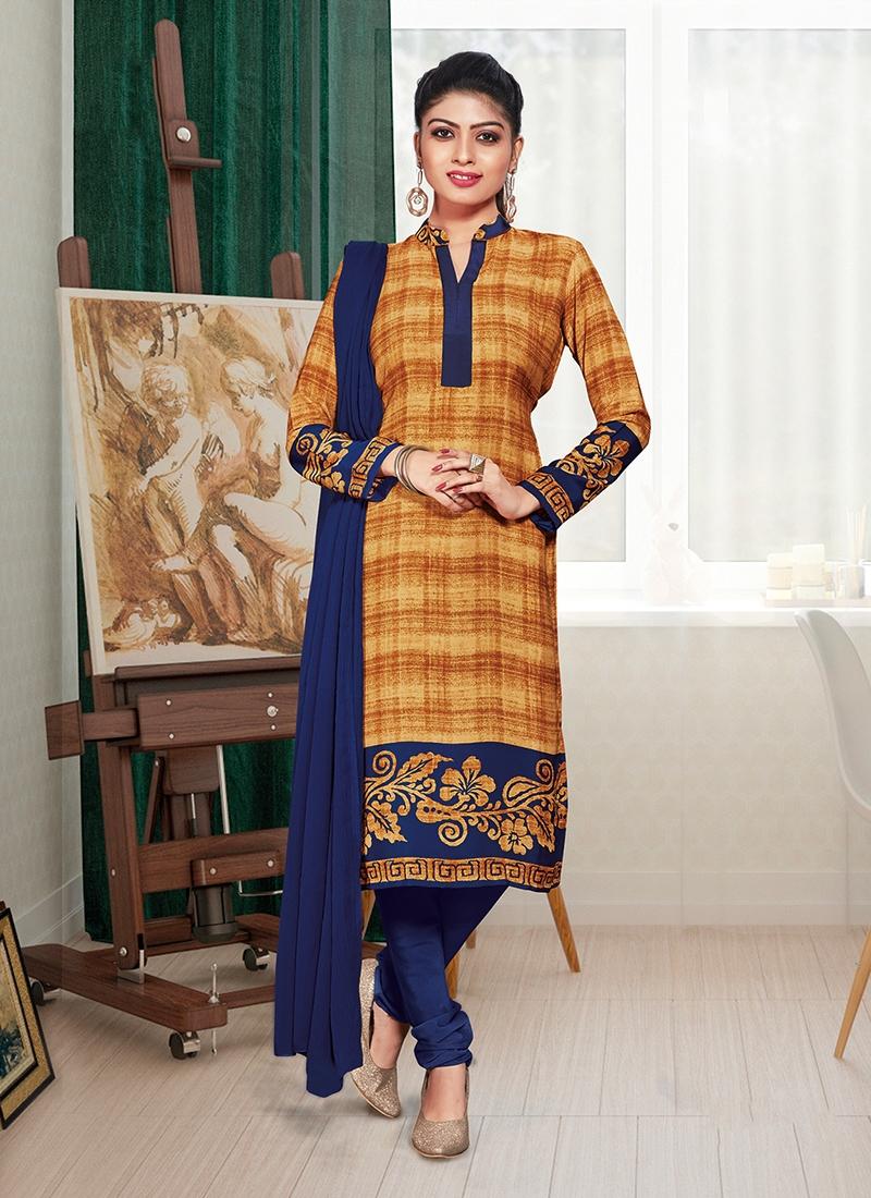 Crepe Silk Print Mustard Churidar Suit