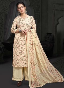 Crepe Silk Print Work Palazzo Style Pakistani Salwar Kameez