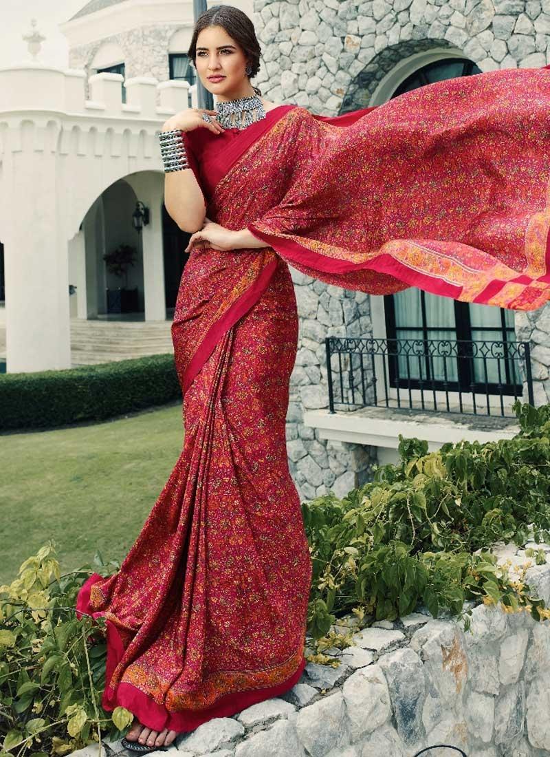Crepe Silk Red and Rose Pink Digital Print Work Classic Saree