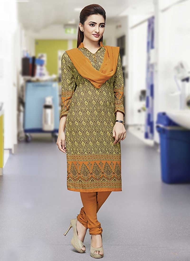 Crepe Silk Trendy Churidar Salwar Kameez For Casual