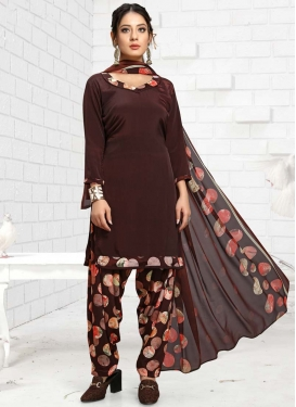Crepe Silk Trendy Patiala Salwar Kameez