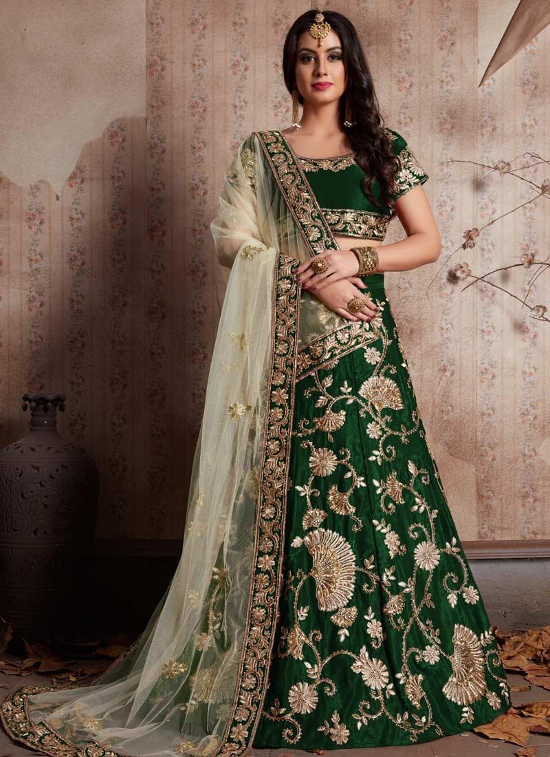 Crepe Velvet Embroidered Work A Line Lehenga Choli