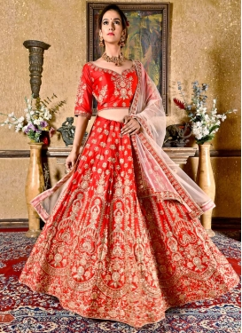 Crepe Velvet Embroidered Work Trendy A Line Lehenga Choli