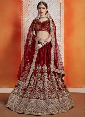 Crepe Velvet Trendy Lehenga Choli For Bridal