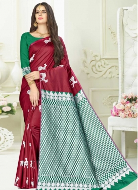 Crimson and Green Banarasi Silk Trendy Saree