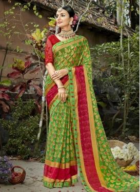 Crimson and Green Traditional Designer Saree