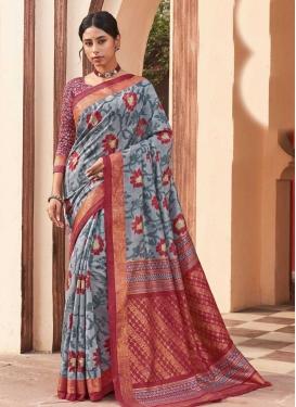 Crimson and Grey Traditional Designer Saree