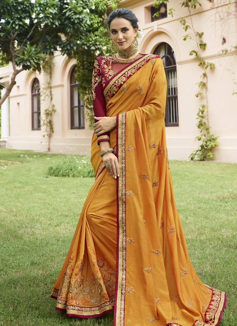 Crimson and Mustard Embroidered Work Contemporary Style Saree