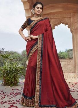 Crimson and Navy Blue Satin Silk Designer Contemporary Style Saree For Festival