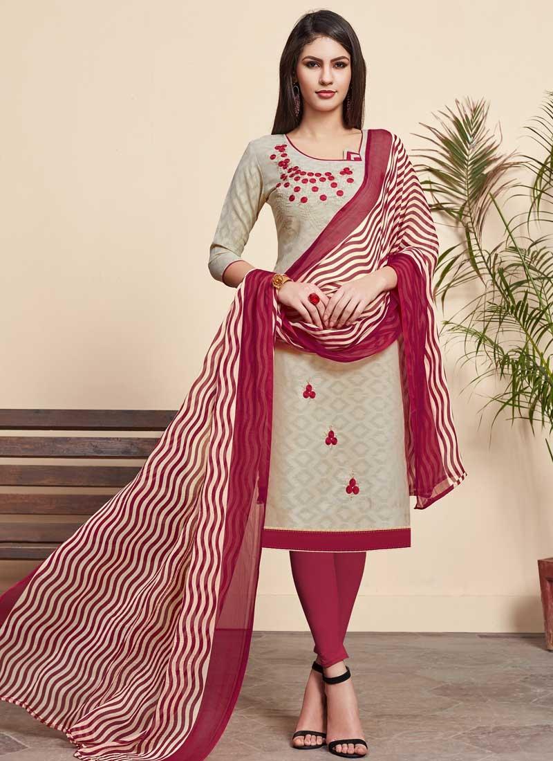 Crimson and Off White Churidar Salwar Kameez