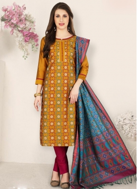 Crimson and Orange Pant Style Pakistani Salwar Suit For Ceremonial