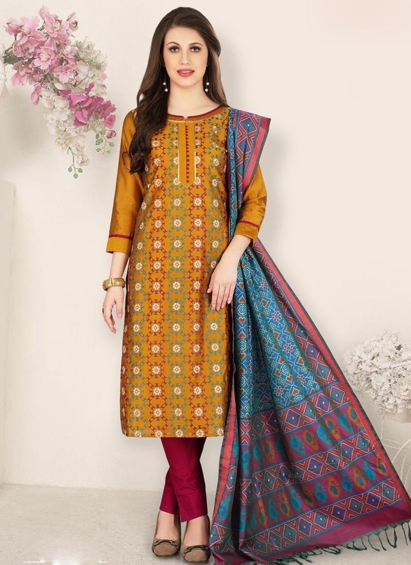 Crimson and Orange Pant Style Pakistani Salwar Suit For Ceremonial