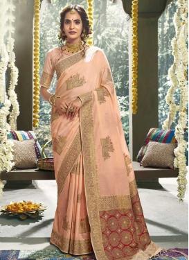 Crimson and Peach Woven Work Trendy Classic Saree