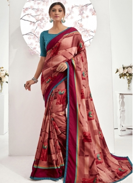 Crimson and Salmon Art Silk Trendy Classic Saree