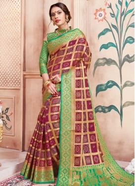 Crimson and Sea Green Bandhej Print Work Trendy Classic Saree