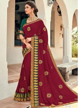Crimson Patch Border Art Silk Designer Traditional Saree