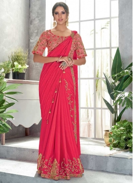 Crush Embroidered Work Trendy Saree