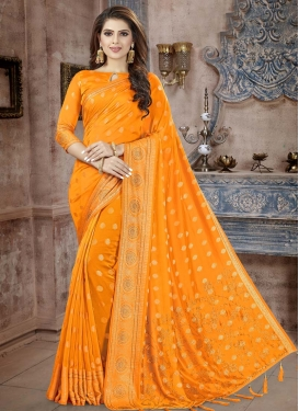 Crystal Work Banarasi Silk Designer Contemporary Style Saree